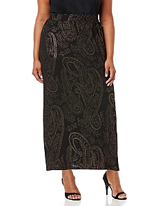 Sleek Stretch Paisley Skirt