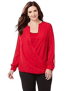 Starlit Faux Wrap Top