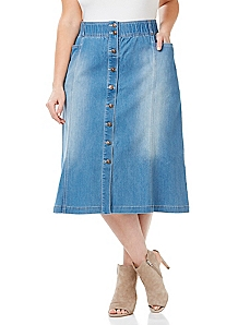 Buttonfront Denim Skirt