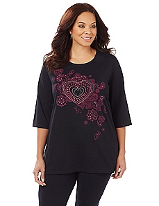 Studded Heart Easy Fit Tee
