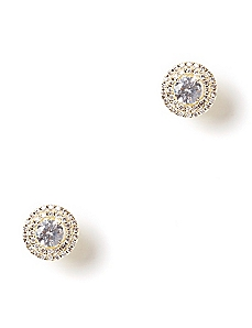 Cubic Zirconia Crystal Halo Earrings