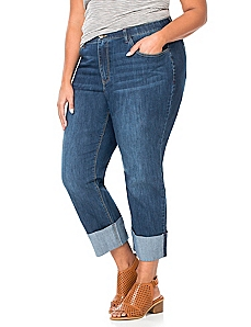 Cuffed Denim Capri