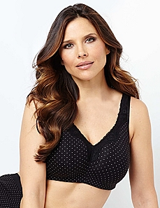 Serenada® Pindot No-Wire Cotton Comfort Bra by CATHERINES