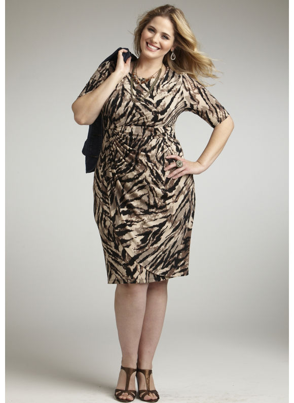 Catherines Women's Plus Size/Brown Wild Allure Draped Dress - Size 22W