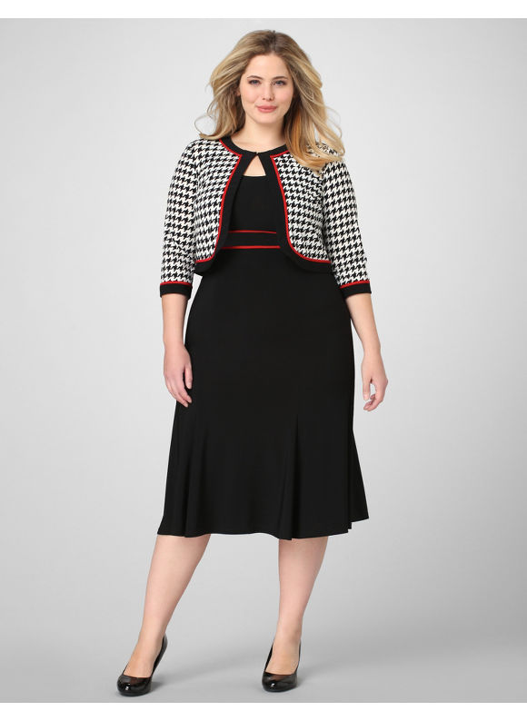 Catherines Women's Plus Size/Black Sleek Houndstooth Jacket Dress -