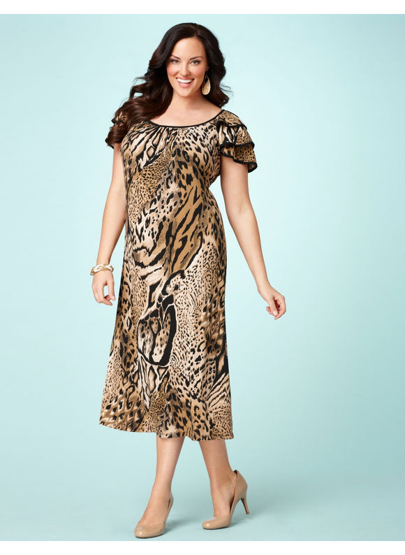 Catherines Women's Plus Size Animal Chemise Dress - Size 1X,2X,3X,0X
