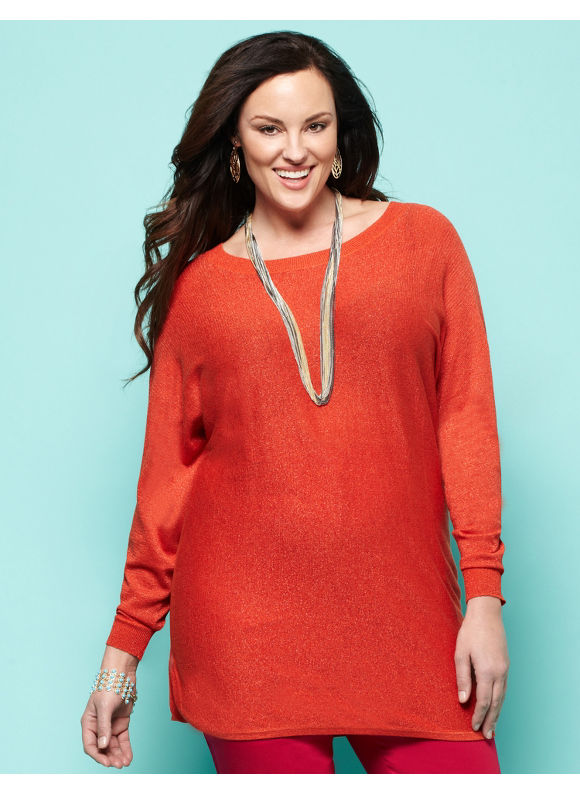 Catherines Women's Plus Size/Aqua, Orange, Blue, Berry Fantasia Sweater