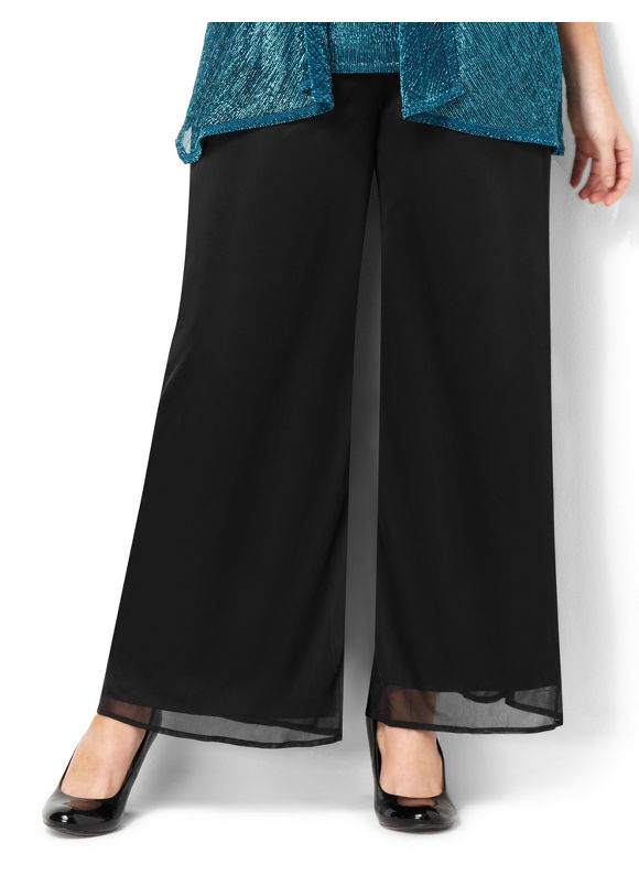 Catherines Plus Size Chiffon Tied Pant - Women's  Black