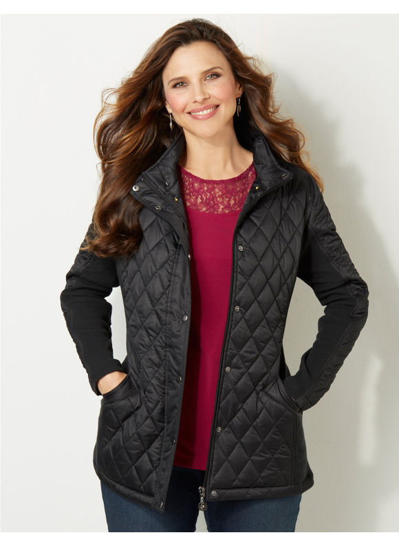 Catherines Plus Size East Side Quilted Coat - Women's Size 3X, Black