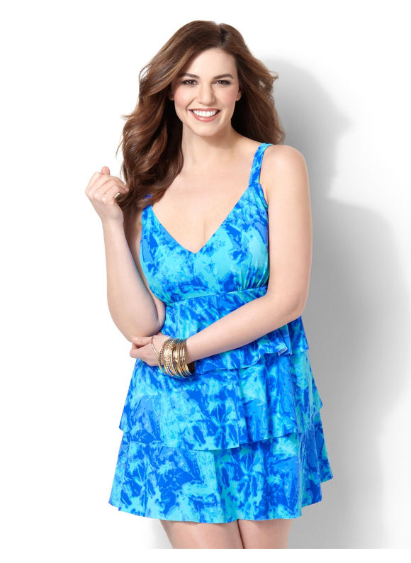 Pasazz.net Favorite -   Plus Size Retro Ruffle Swimdress -  Size 16W,18W,20W,22W,24W,26W, Galaxy Blue