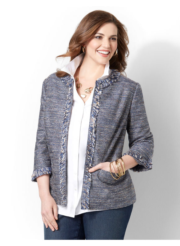 Catherines Plus Size Fringed Jacket -  Dark Blue