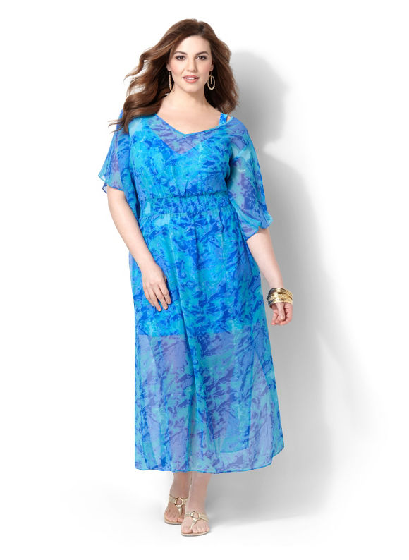 Catherines Plus Size Sheer Touch Cover-Up - Galaxy Blue