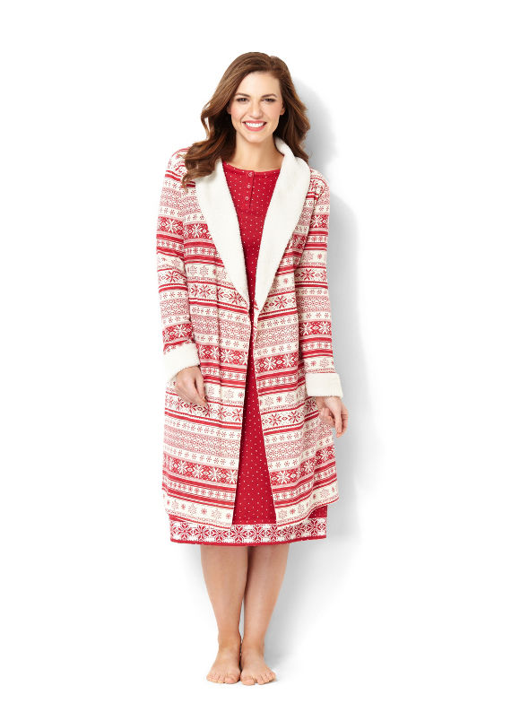 Catherines Plus Size French Terry Robe - Jester Red