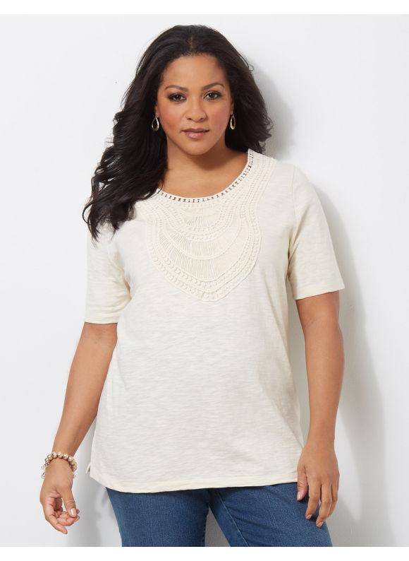 Image of Catherines Plus Size Savona Crochet Trim Top  Womens Size 3X Light Beige