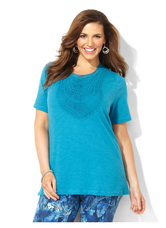 Image of Catherines Plus Size Savona Crochet Trim Top  Womens Size 3X Neon TealVioletLight Beige