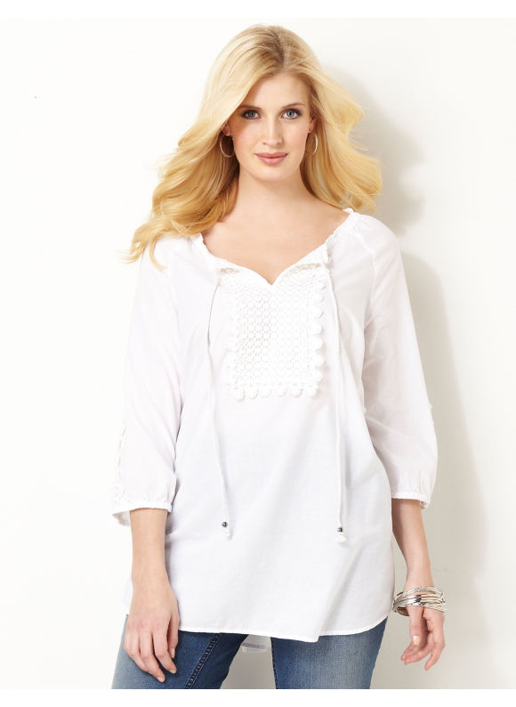 Image of Catherines Plus Size Bedford Peasant  Womens Size 2X White