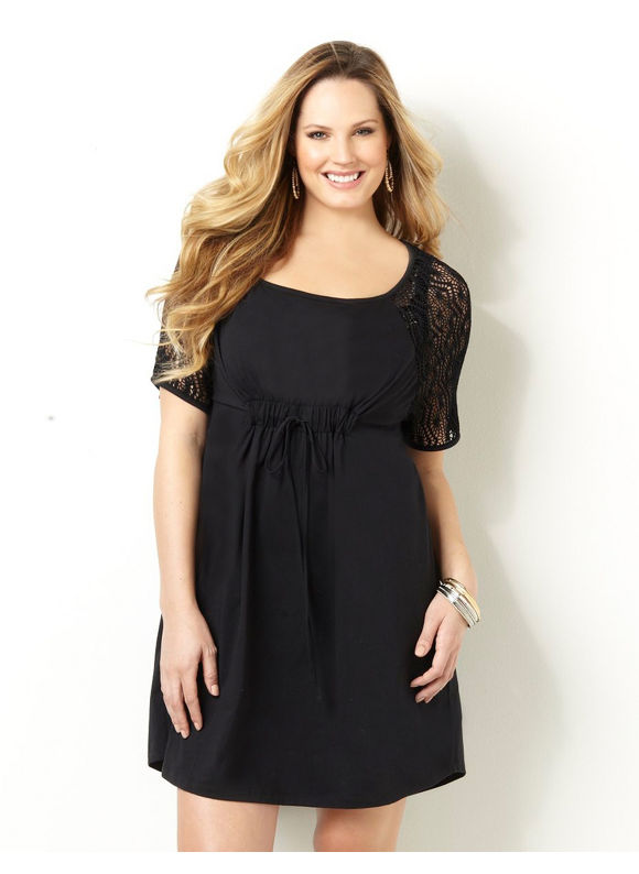 Catherines Plus Size Crochet Cover-Up - Women's Size 0X, Black