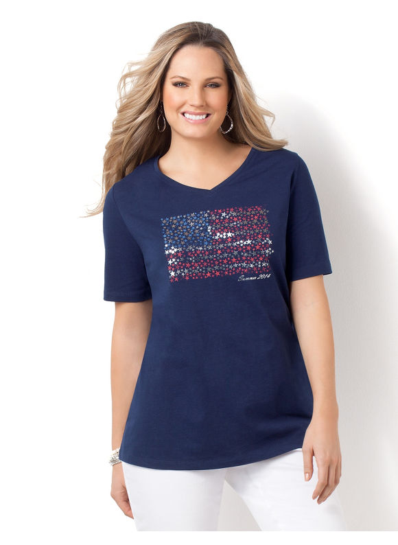 Image of Catherines Plus Size Flag Tee  Womens Size 2X Mariner Navy