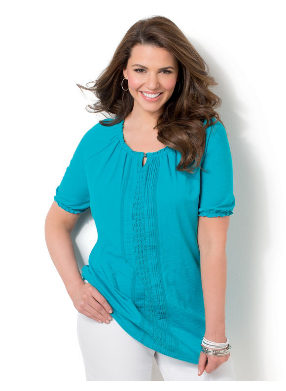 Image of Catherines Plus Size Santa Rosa Peasant  Womens Size 1X Teal