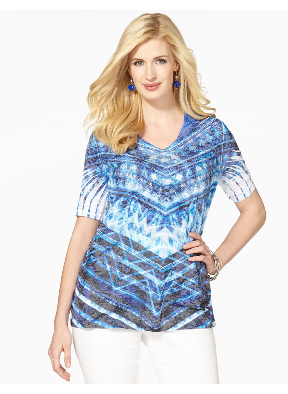 Image of Catherines Plus Size Electric Thrill Top  Womens Size 1X Surf The Web