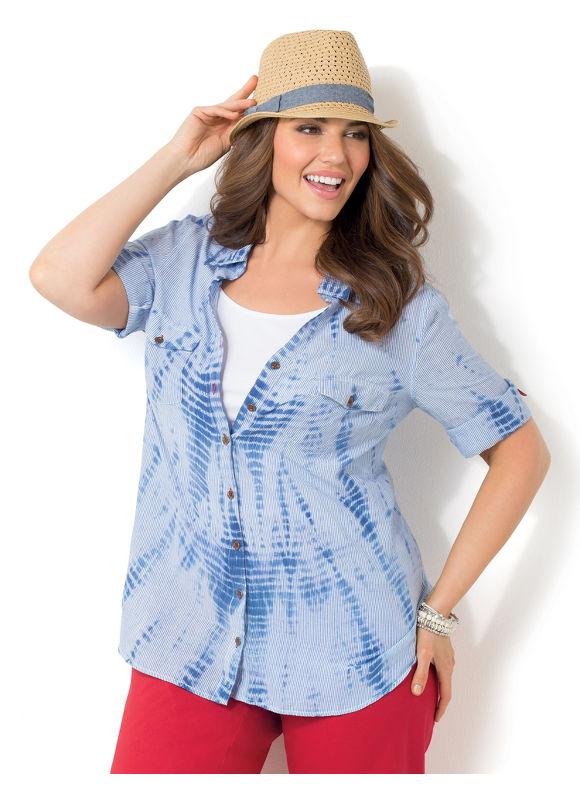 Image of Catherines Plus Size Light Windmill Top  Womens Size 2X Blue