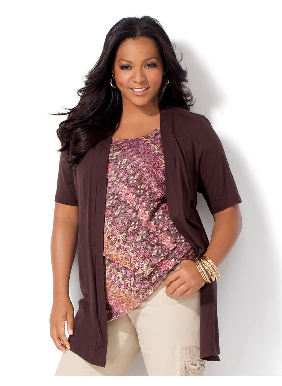 Image of Catherines Plus Size Cafe Cardigan  Womens Size 2X Coffee Bean