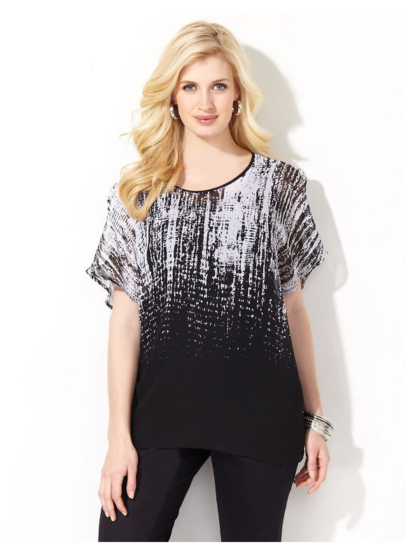 Image of Catherines Plus Size Sheer Dripping Blouse  Womens Size 1X2X Black