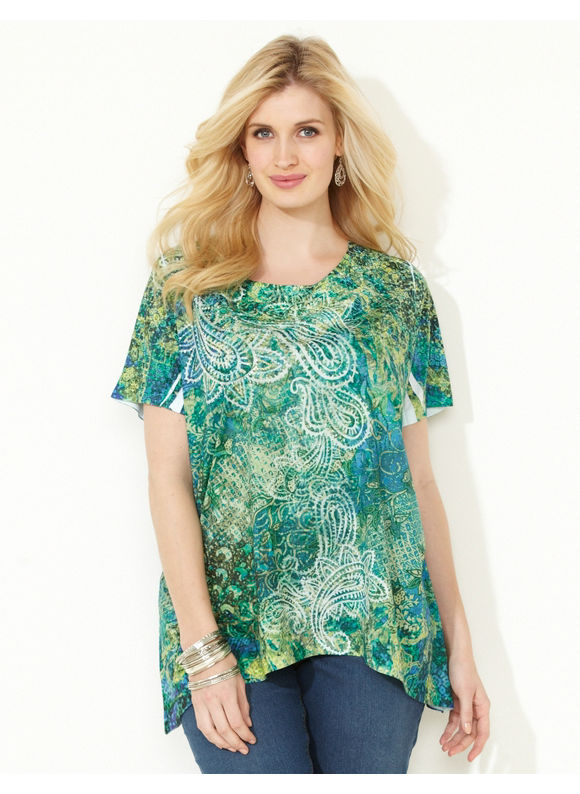 Image of Catherines Plus Size Seaside Paisley Top  Womens Size 3X Thyme Green