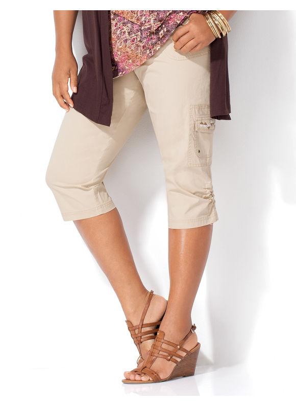 Image of Catherines Plus Size Poplin Capri  Womens Size 3X Safari Khaki