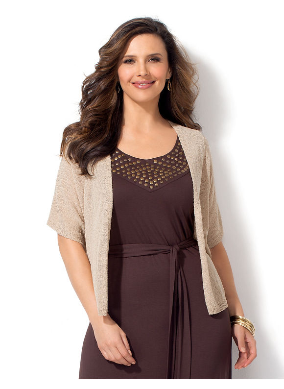 Catherines Plus Size Dolman Sleeve Shrug - Dusty Khaki