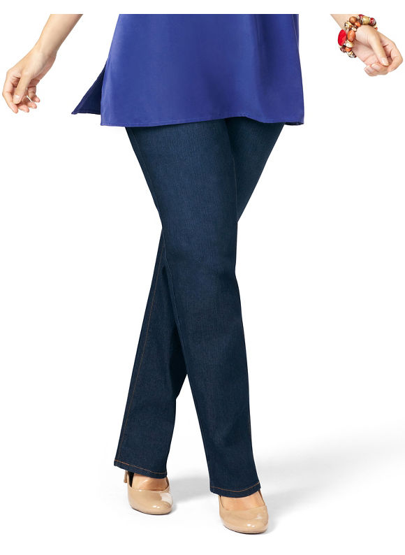 Catherines Plus Size Slimmer Synergy Straight Leg Jean - Women's Size 18W, Medium Stone