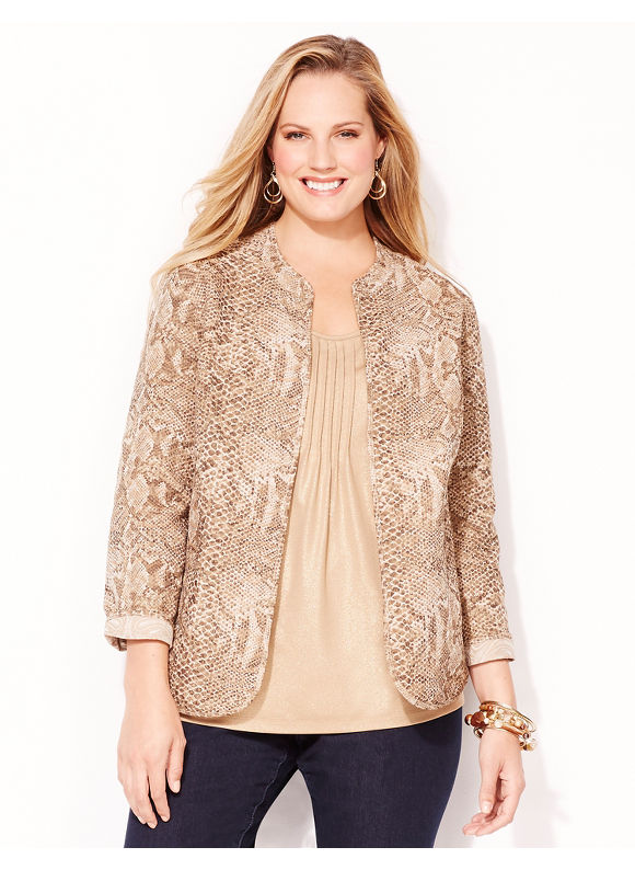Catherines Plus Size Viper Reversible Jacket - Coffee Bean