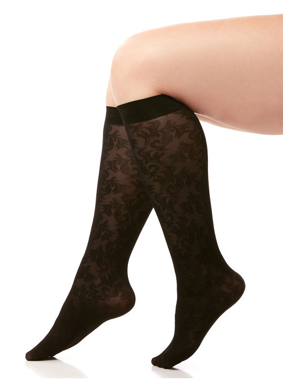 By Catherines Plus Size Scroll Lace Trouser Sock Women' Black plus size,  plus size fashion plus size appare
