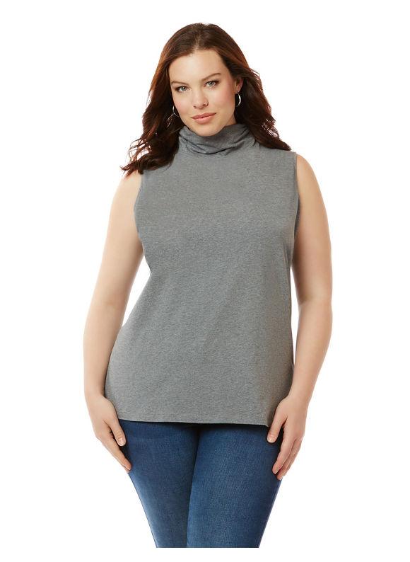 Image of Suprema Essentials by Catherines Plus Size Suprema Sleeveless Turtleneck, Women's, Size: 5XL, Grey