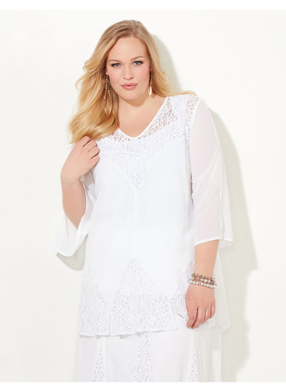 Black Label by Catherines Plus Size Whisper Lace Top Womens Size 2XL White $89.00 AT vintagedancer.com