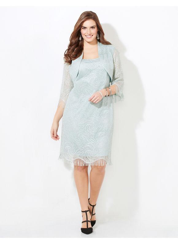 Catherines Plus Size Crochet Fringe Jacket Dress Womens Size 16W Agua Fresca $179.00 AT vintagedancer.com