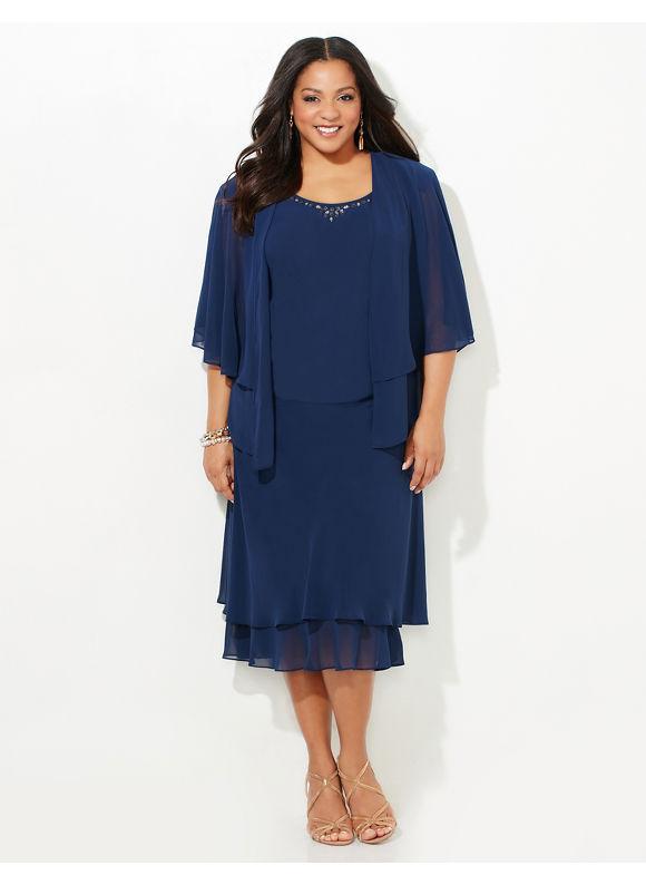 Catherines Plus Size Heaven Sent Jacket Dress Womens Size 4XL Mariner Navy $179.00 AT vintagedancer.com