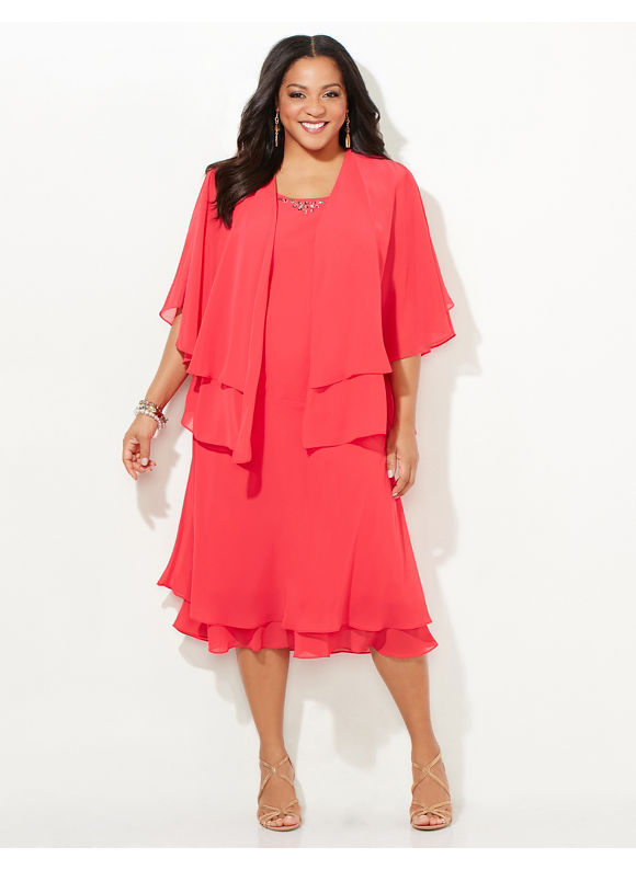 Catherines Plus Size Heaven Sent Jacket Dress Womens Size 0X Bonfire Flame $179.00 AT vintagedancer.com
