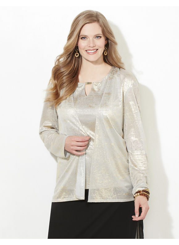 Catherines Plus Size Easy Elegance Duet Top Womens Size 0X Desert Khaki $129.00 AT vintagedancer.com