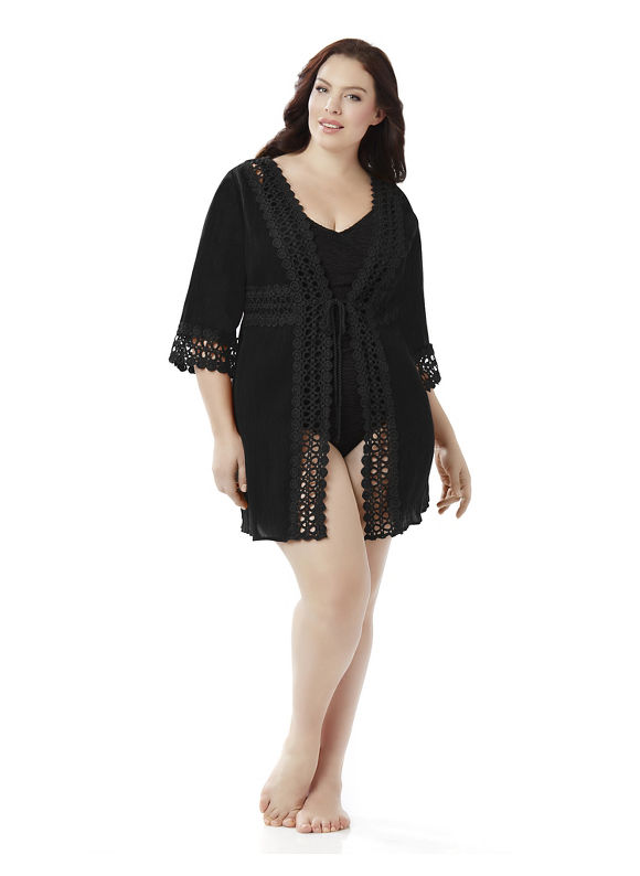 Catherines Plus Size Kimono Swim Cover-Up,  Women' Size: 4  Black plus size,  plus size fashion plus size appare
