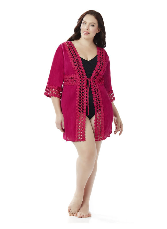 Catherines Plus Size Kimono Swim Cover-Up, Women's, Size: 0X, Williamson Pink