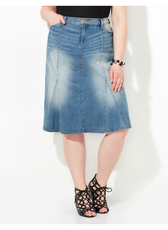 Catherines Plus Size Faded Denim Skirt,  Women' Size: 16W,  Angel Blue Wash plus size,  plus size fashion plus size appare