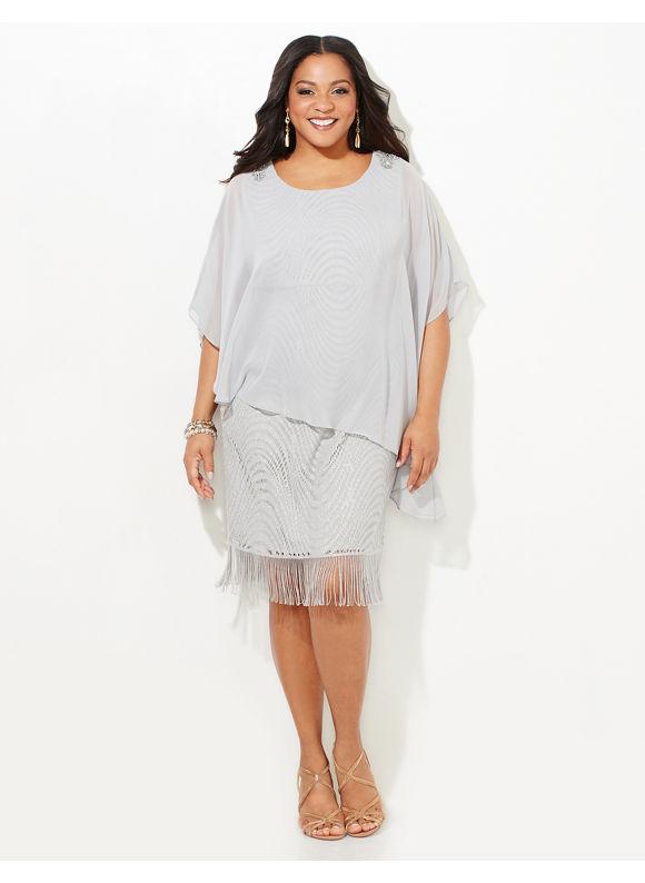 Catherines Plus Size Soft Elegance Dress Womens Size 16W Silver $149.00 AT vintagedancer.com