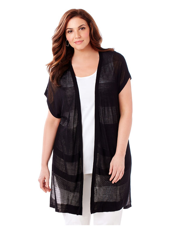 Catherines Plus Size Sheer Elegance Cardigan Womens Size 5XL Black $51.99 AT vintagedancer.com
