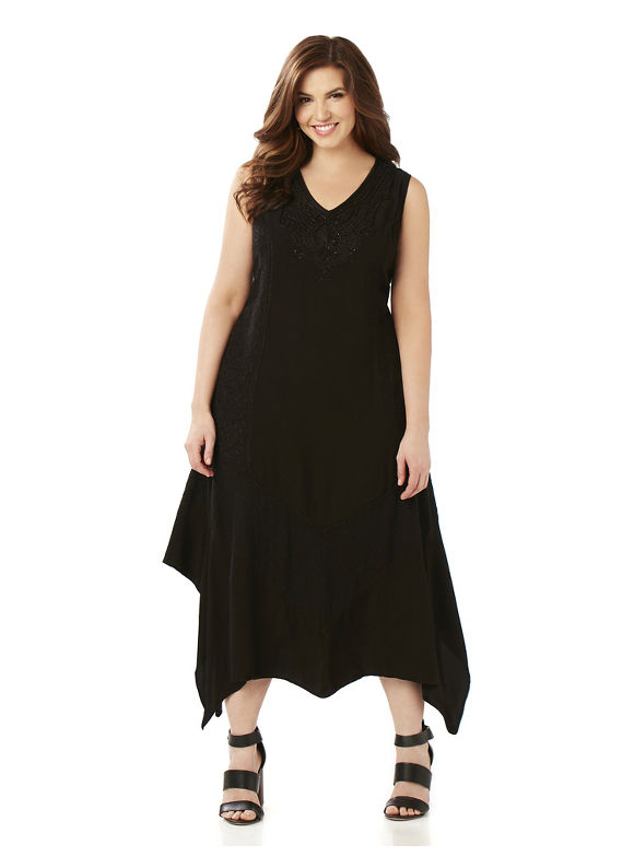 Catherines Plus Size Softly Stunning Dress Womens Size 4XL Black $119.00 AT vintagedancer.com