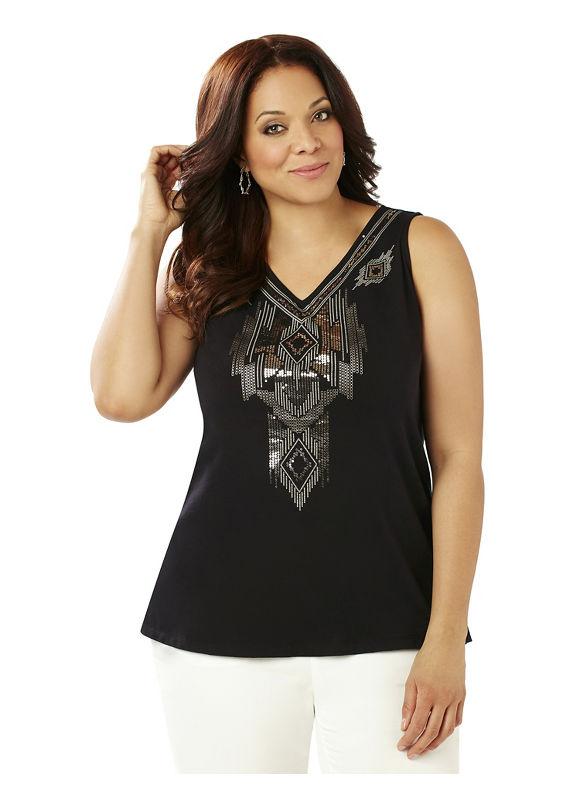 Black Label by Catherines Plus Size Black Label Aztec Beaded Tank Womens Size 5XL $59.00 AT vintagedancer.com