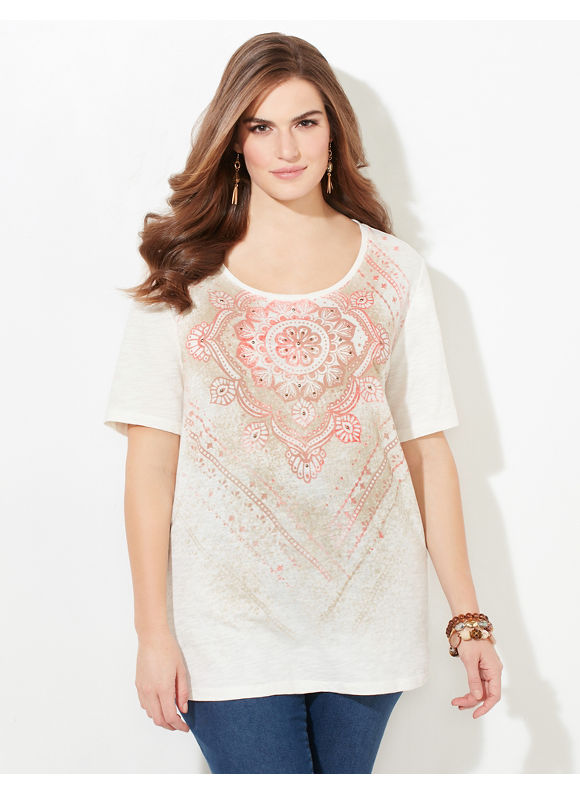 Catherines Plus Size Mellow Medallion Top Womens Size 0X Coconut Milk $24.99 AT vintagedancer.com