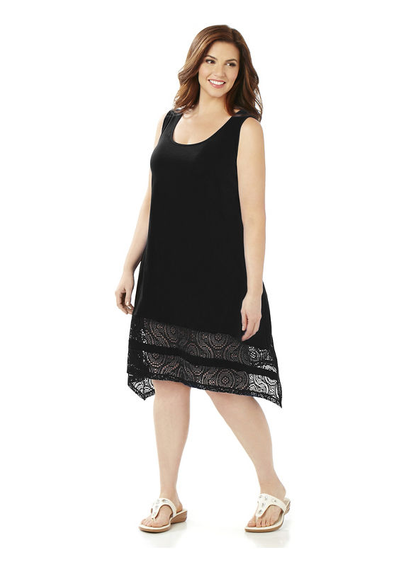 Catherines Plus Size Crochet Hem Cover-Up,  Women' Size: 5  Black plus size,  plus size fashion plus size appare