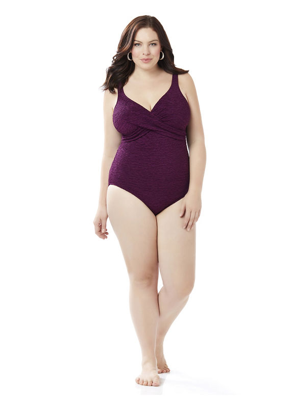 Penbrooke Swimsuits Plus Size Textured Crossover Swimsuit, Women's, Size: 20W, Berry Breeze