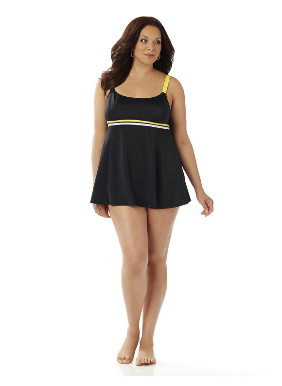 Catherines Plus Size Double Trim Swimdres Women' Size: 20W,  Black plus size,  plus size fashion plus size appare